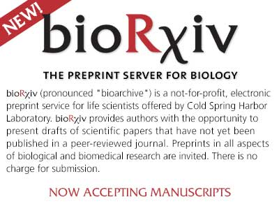 bioRχiv (pronounced bioarchive) is a not-for-profit, electronic preprint service for life scientists offered by Cold Spring Harbor Laboratory. bioRχiv provides authors with the opportunity to present drafts of scientific papers that have not yet been published in a peer-reviewed journal. Preprints in all aspects of biological and biomedical research are invited. There is no charge for submission.